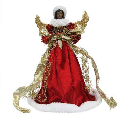 18 in. Ethnic Red Angel Christmas Tree Topper