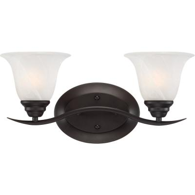 Trinidad 2-Light Indoor Antique Bronze Bath or Vanity Wall Mount with Alabaster Glass Bell Shades