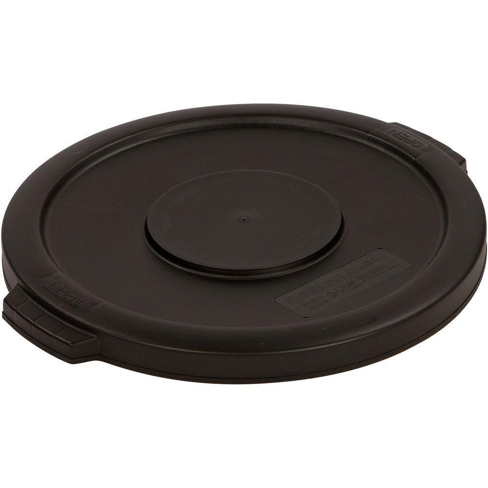 Bronco 20 Gal. Black Round Trash Can Lid (6-Pack)