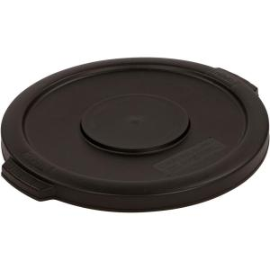 Click here to buy Carlisle Bronco 55 Gal. Black Round Trash Can Lid (2-Pack) by Carlisle.