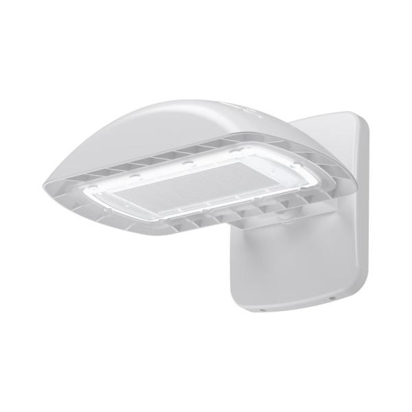 350-Watt Equivalent White Integrated Outdoor LED Flood Light Kit with Wall Pack Mount, 5500 Lumens, Dusk to Dawn Light