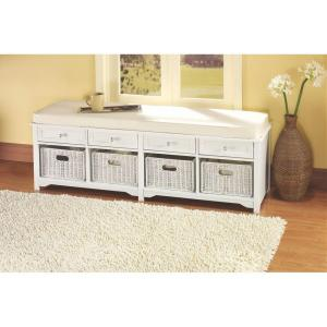 Home Decorators Collection Oxford White 4 Basket Storage Bench 3491420410 The Home Depot