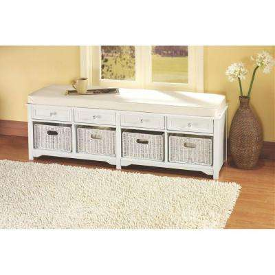 Oxford White 4 Basket Storage Bench