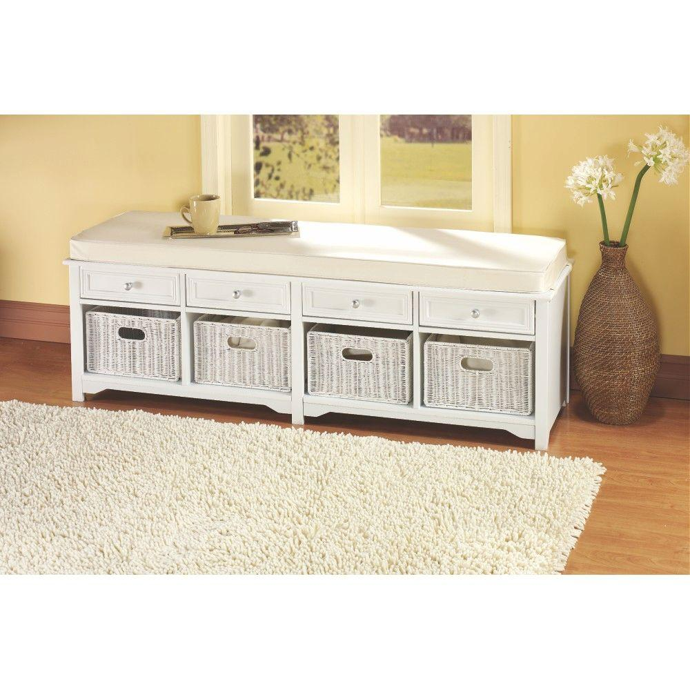 Home Decorators Collection Oxford White 4 Basket Storage Bench 6055520410    The Home Depot