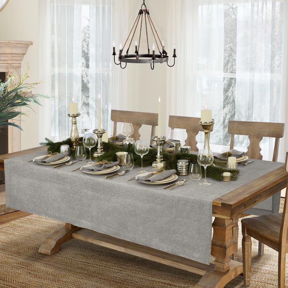 La Classica 70 in. W x 126 in. L Fabric Tablecloth in Gray/Silver