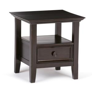 Amherst Solid Wood 19 in. Wide Square Traditional End Table in Dark Brown