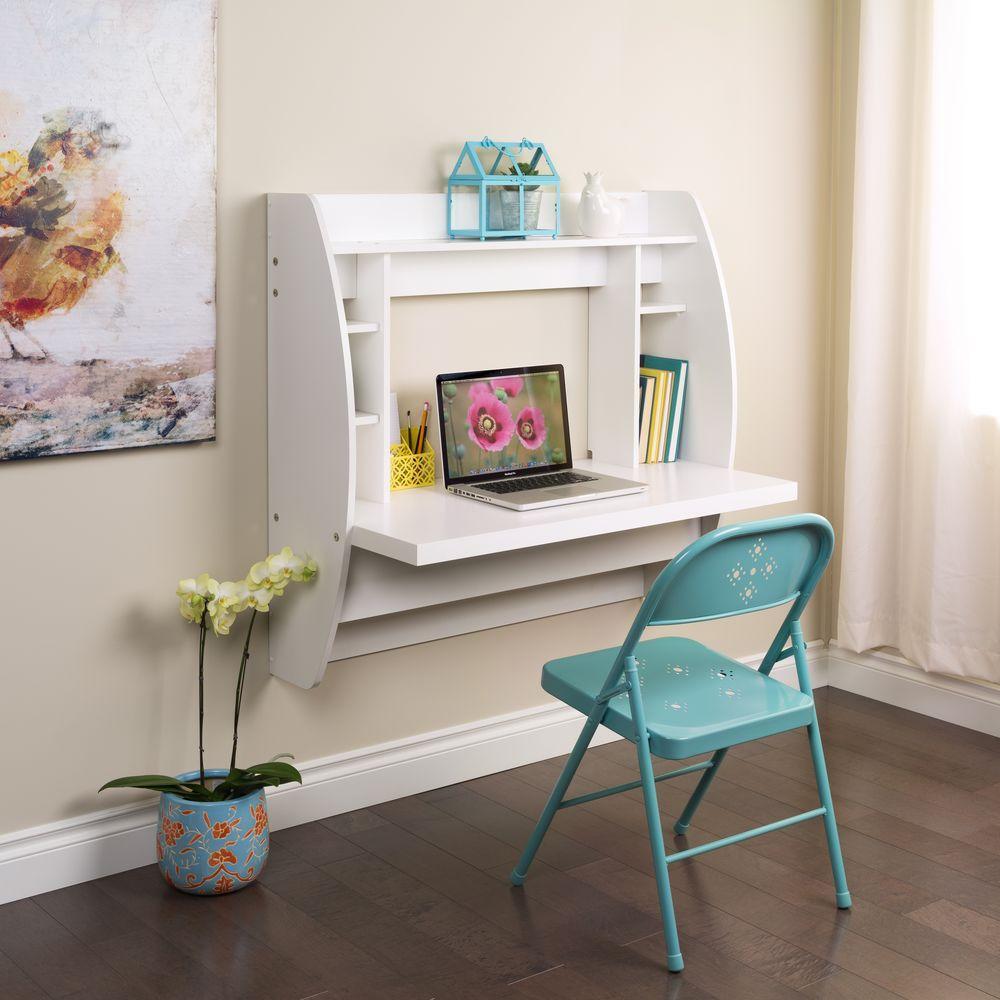 white desk with shelves
