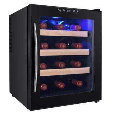 12-Bottle Single Zone Thermoelectric Wine Cooler in Black with Wooden Shelves