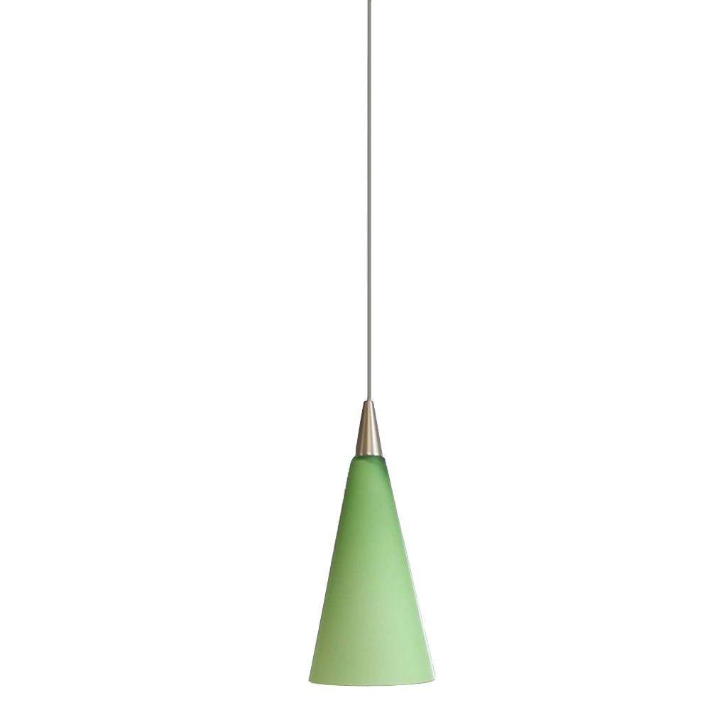 Hampton Bay 1-Light Brushed-Steel Hanging Mini Pendant