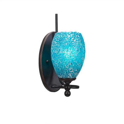 1-Light Dark Granite Sconce with Turquoise Cracked Glass