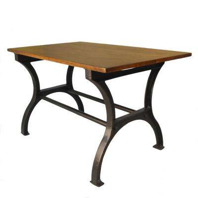 Etta Elm and Black Cast Iron Trestle Base Dining Table
