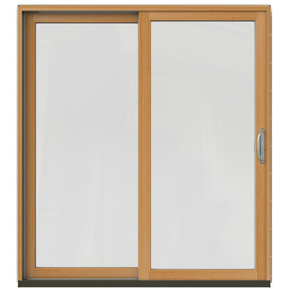 Jeld wen 72 in x 80 in w 2500 contemporary brown clad for Wood patio doors home depot