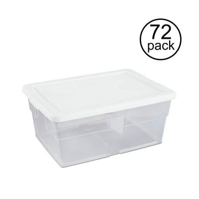 16-Qt. Clear Stacking Closet Storage Box Container Tub (72-Pack)