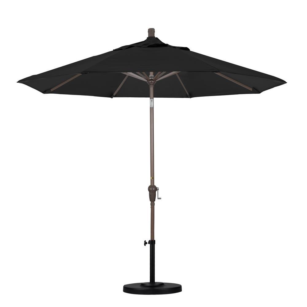 9 ft. Aluminum Auto Tilt Patio Umbrella in Black Pacifica
