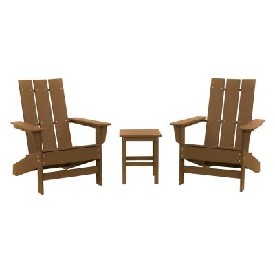 Aria Teak Recycled Plastic Modern Adirondack Chair with Side Table (2-Pack)