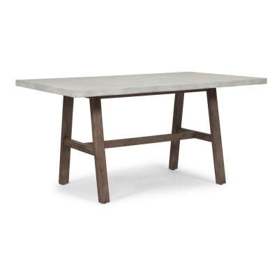 Concrete Chalky White and Brown Chic Dining Trestle Table