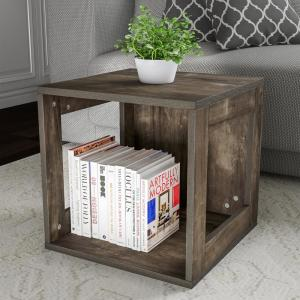 Stackable Minimalist Modular Open-Sided Cube Table Gray