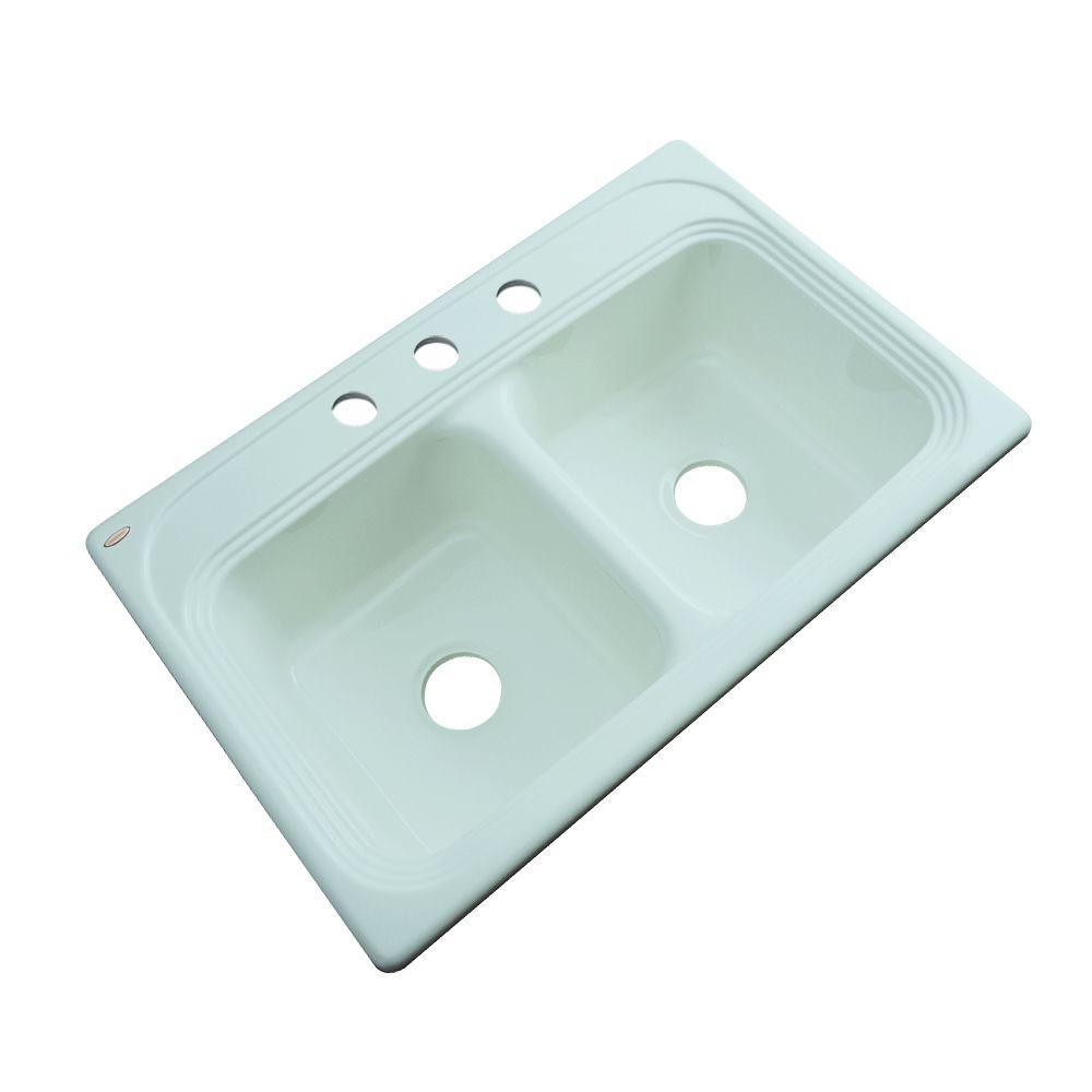 Thermocast Chesapeake Drop-In Acrylic 33 in. 3-Hole Double Basin Kitchen Sink in Seafoam Green