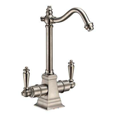 Dual Handle Instant Hot and Cold Water Dispenser with Traditional Spout and Self Closing Handle in Brushed Nickel