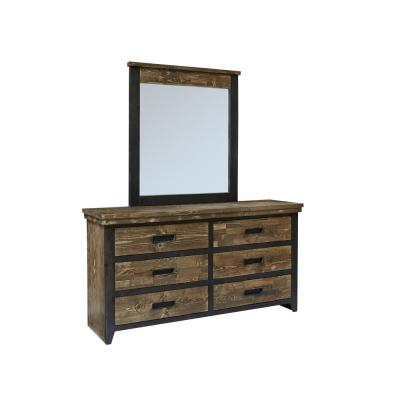 Renegade 6-Drawer Black and Honey Dresser with Mirror 76 in. x  65 in. x  18 in.