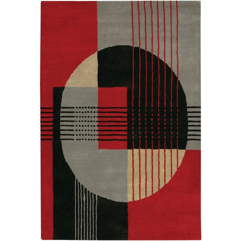 Chandra Daisa Red/Black/Grey 7 ft. 9 in. x 10 ft. 6 in. Indoor Area Rug