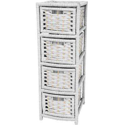 4-Drawer White Natural Fiber Occasional Trunk