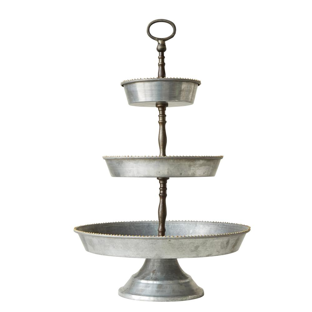3r Studios Metal Silver 3 Tier Galvanized Tray With Handle