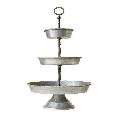 Metal Silver 3-Tier Galvanized Tray with Handle