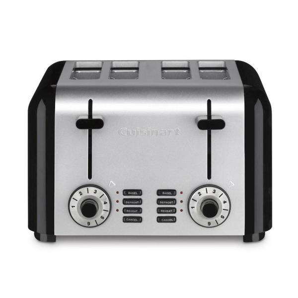 Cuisinart 4-Slice Black and Silver Wide Slot Toaster with Crumb Tray