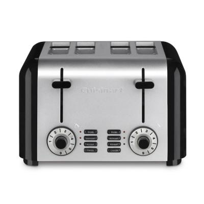 4-Slice Black and Silver Wide Slot Toaster with Crumb Tray