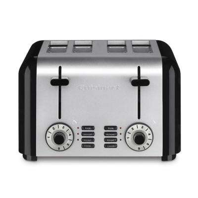 4-Slice Silver and Black Toaster
