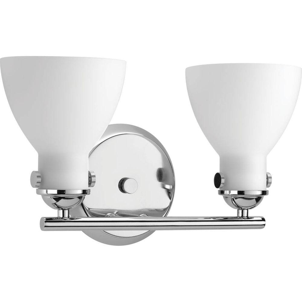 Fuller Collection 2-Light Polished Chrome Vanity Light with Etched Opal Glass