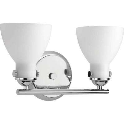Fuller Collection 2-Light Polished Chrome Bathroom Vanity Light with Glass Shades