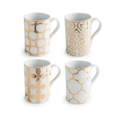 Luxe Moderne White/Gold 12 oz. Mugs (Set of 4)