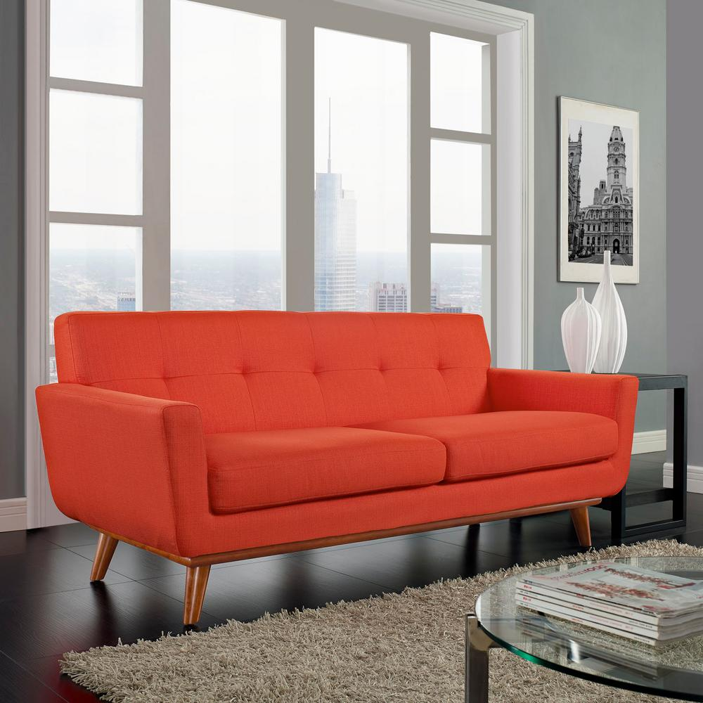 MODWAY Engage Atomic Red Upholstered Fabric Loveseat EEI ...
