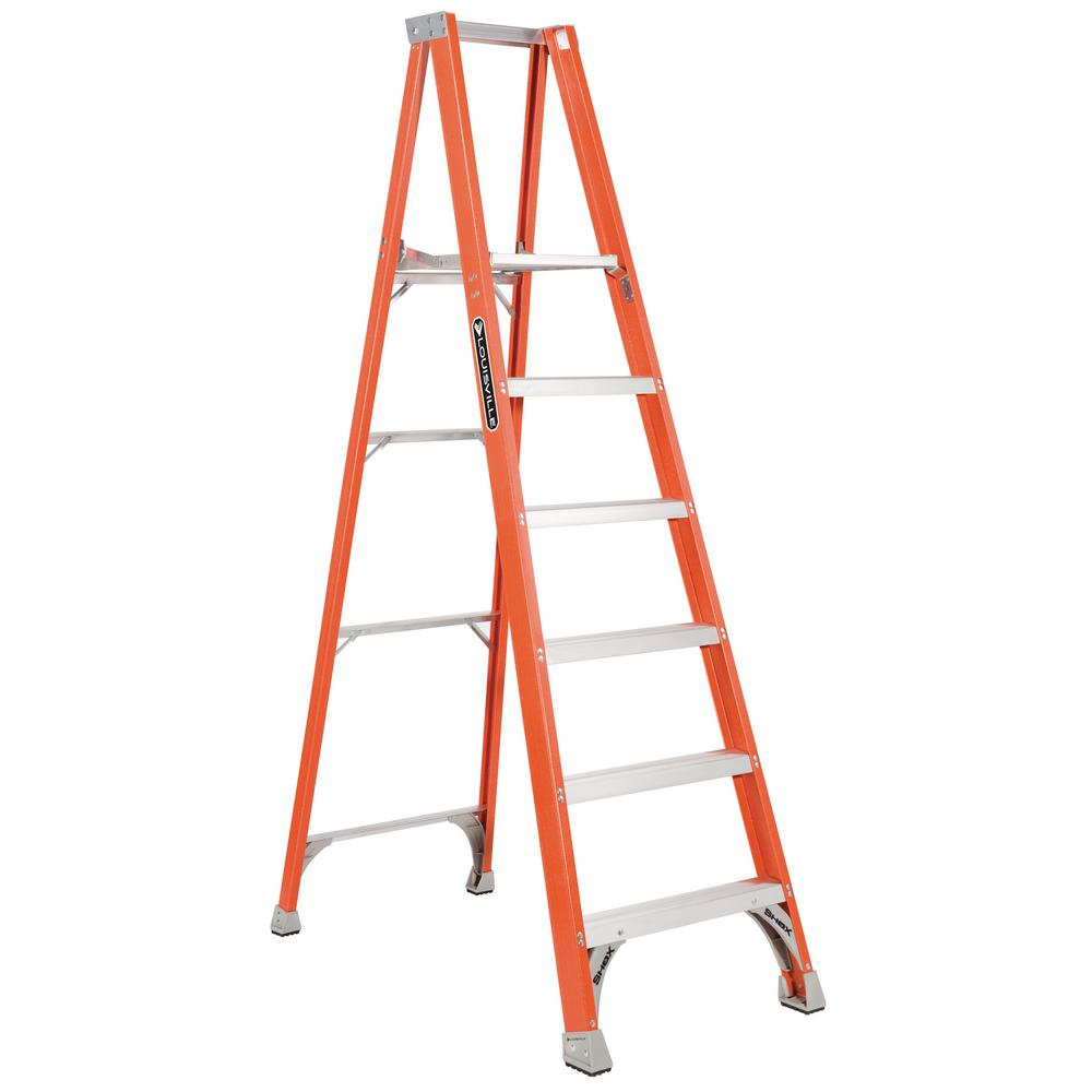 Louisville Ladder 6 ft. Fiberglass Platform Step Ladder with 300 lbs. Load Capacity Type IA Duty Rating