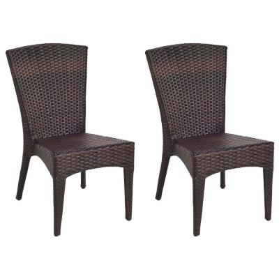 Tiger Stripe Brown Stackable Aluminum Wicker Outdoor Dining Chair (2-Pack)