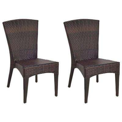 New Tiger Stripe Aluminum Frame Wicker Patio Side Chair (2-Pack)