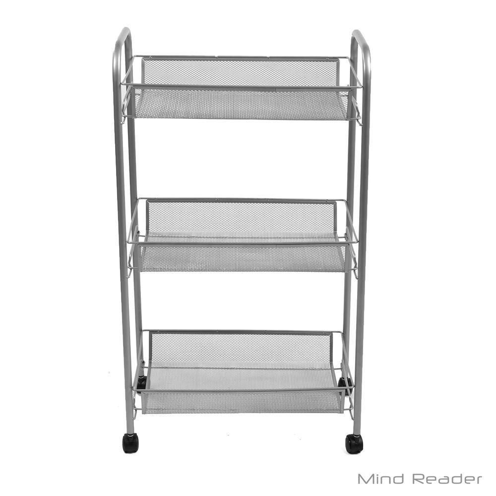 3-Tier Mesh Metal 4-Wheeled Office Cart in Silver