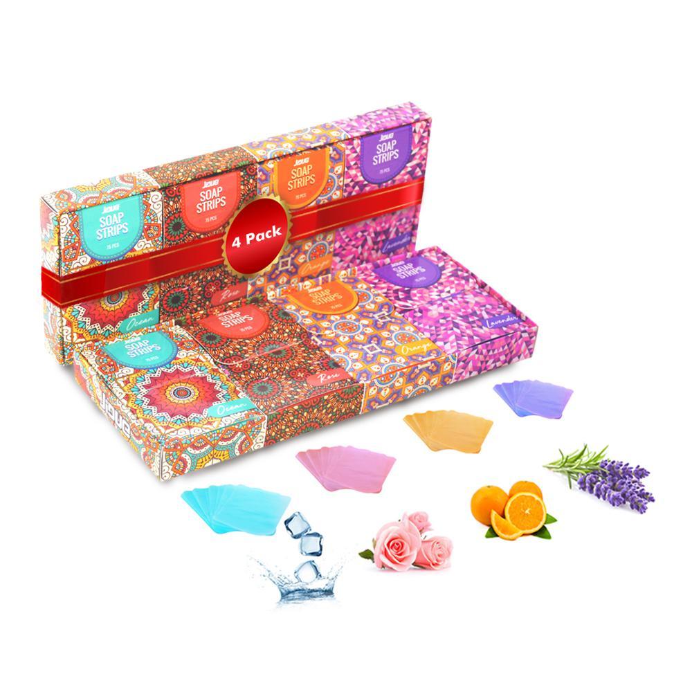Soap Sheet 300 Lavender Ocean Orange Rose Scented 4 x 75 Strips Hand Soap (4-Pack)