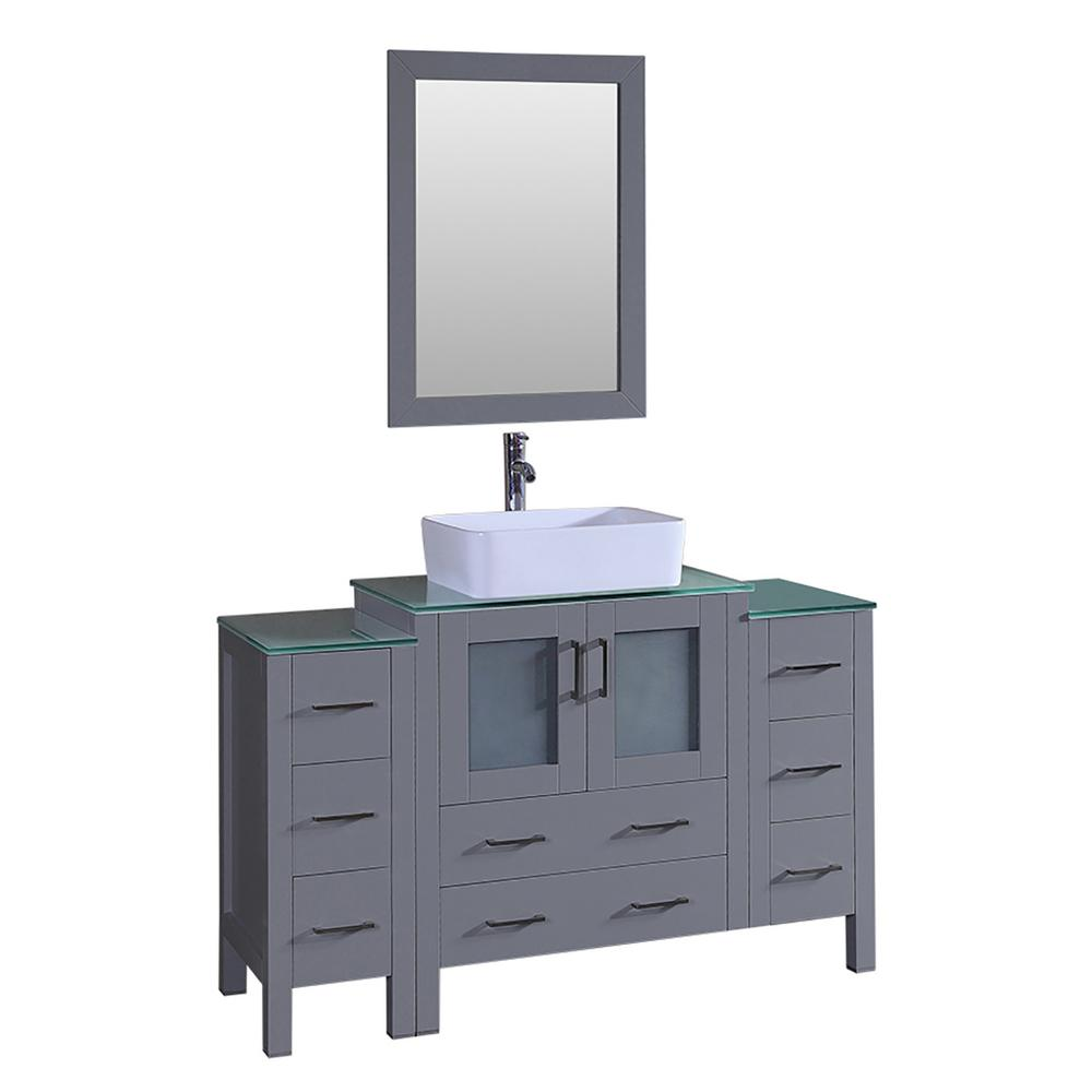 Bosconi Bosconi 54 in. Single Vanity in Gray with Vanity Top in Green with White Basin and Mirror