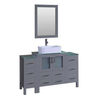 Bosconi 54 in. Single Vanity in Gray with Vanity Top in Green with White Basin and Mirror