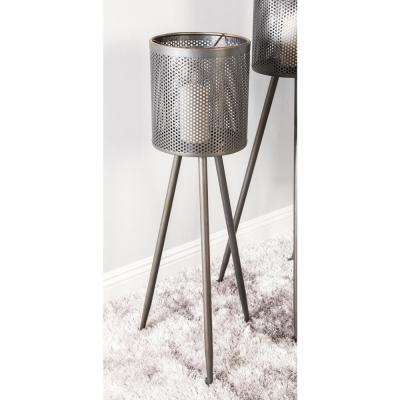 36 in. Charcoal Black Iron Tripod Candle Holder with Mesh Shade