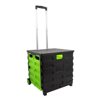 Foldable 60 Qt  Rolling Crate in Green/Black