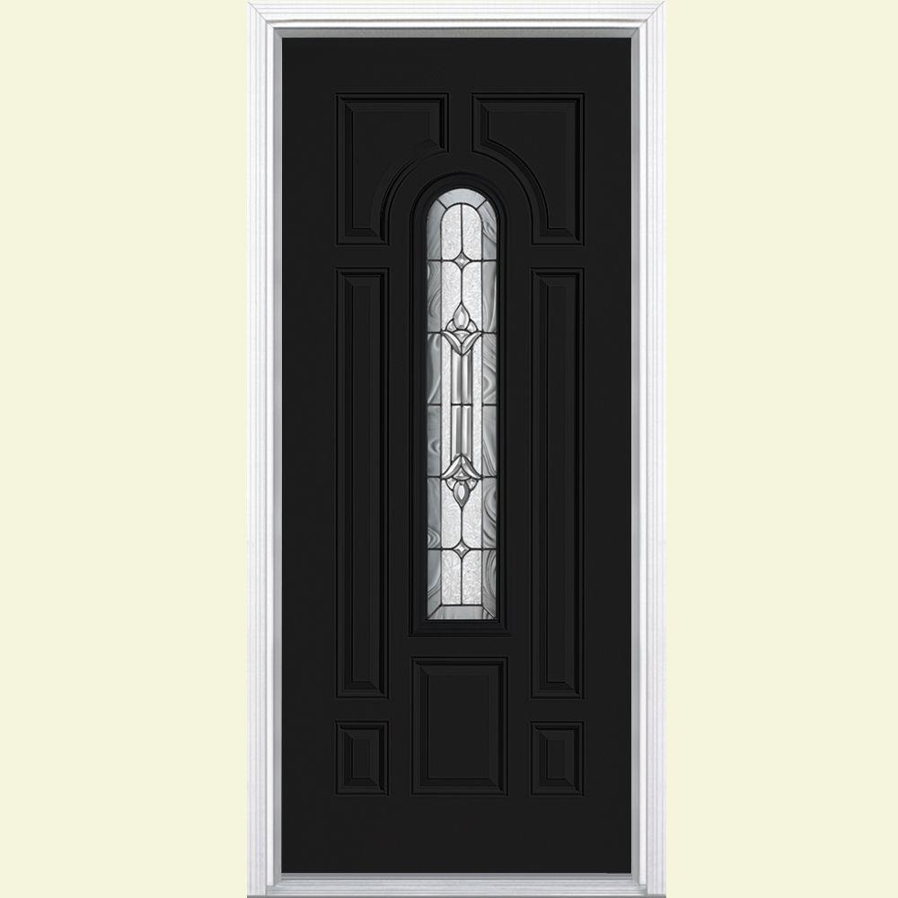 Masonite 36 in. x 80 in. Providence Center Arch Left Hand Painted Smooth Fiberglass Prehung Front Door w/ Brickmold, Vinyl Frame