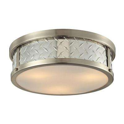 Trajan Collection 3-Light Brushed Nickel LED Flushmount