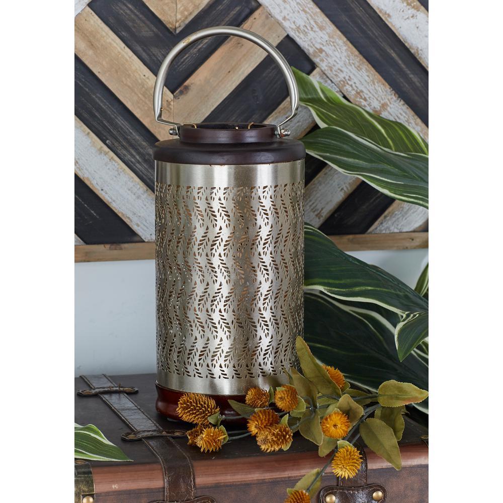 Metallic Brass Gold Hexagonal and Wavy Frond Candle Lanterns (Set of 2)
