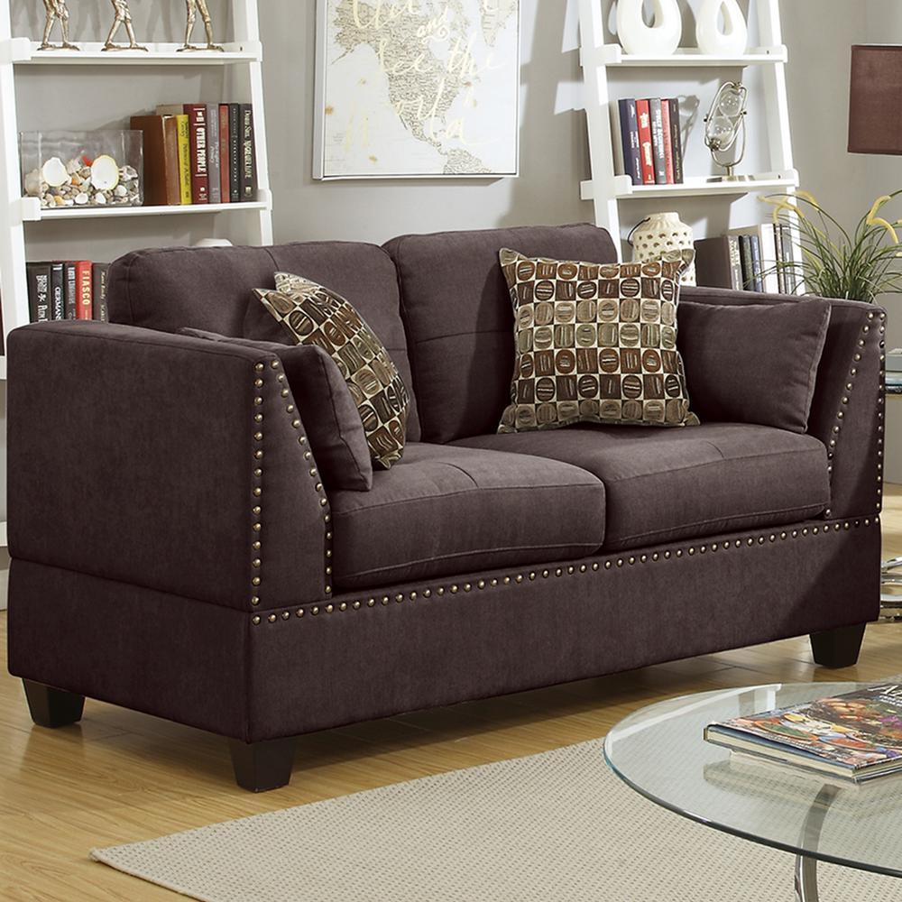 Venetian Worldwide Abruzzo 2-Piece Dark Brown Velvet Sofa Set