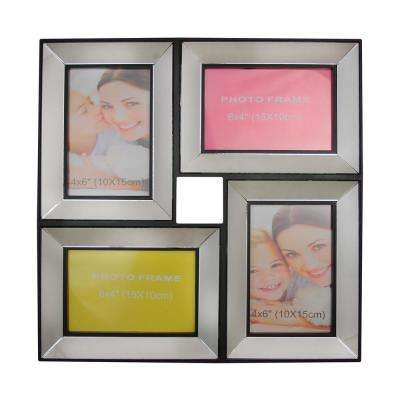 13.75 in. Black Trimmed Glass Encased Photo Picture Frame Collage Wall Decoration