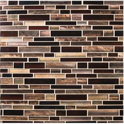 Artista Interlocking 12 in. x 12 in. x 8 mm Glossy Glass Mesh-Mounted Mosaic Tile (1 sq. ft.)